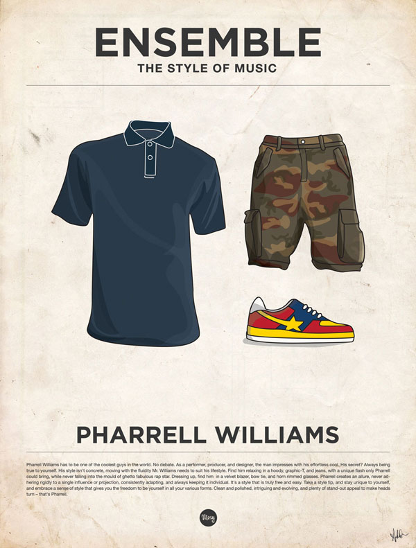 styleofmusic pharellwilliams Ensemble: The Style of Music (20 Iconic Male Musicians)